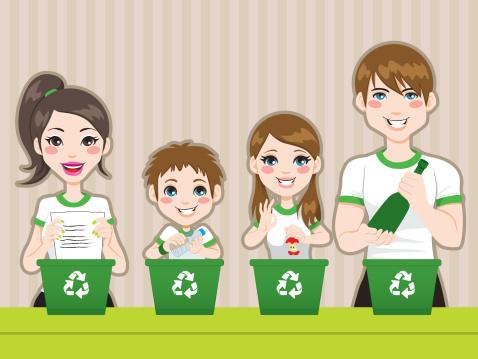 Dessin d'une famille qui fait du tri pour l'écologie